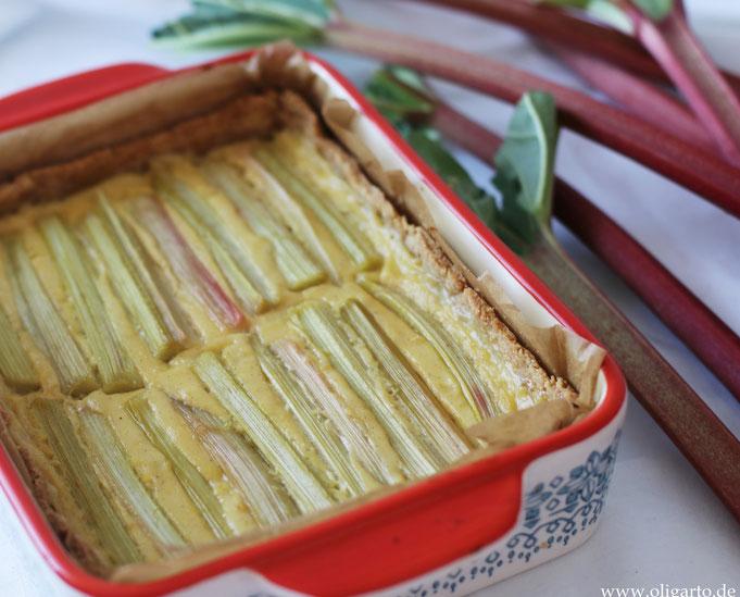 Rhabarberkuchen mit Vanillecreme Oligarto Backen mit Olivenöl