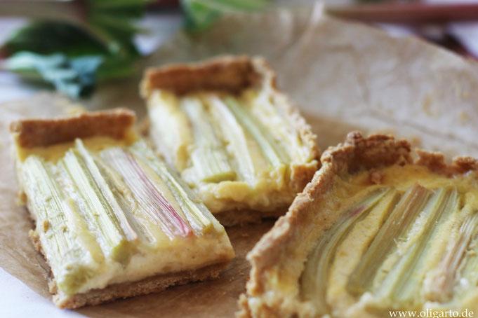 Rhabarberkuchen mit Olivenöl udn Vanillecreme Oligarto Rezepte