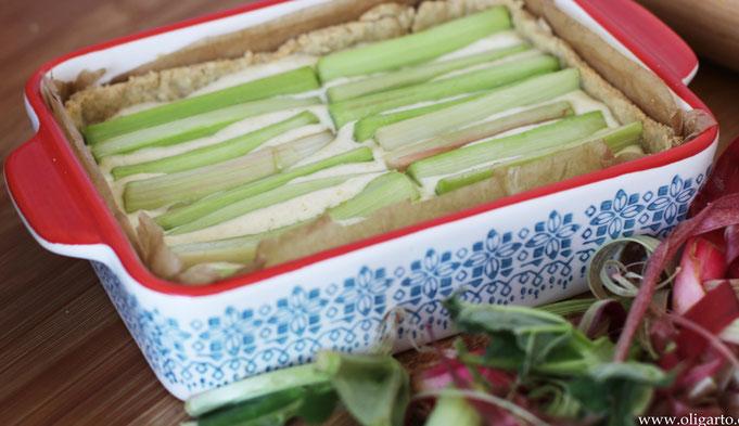 Rhabarberkuchen mit Vanillecreme  Oligarto Backen mit Olivenöl Rezepte
