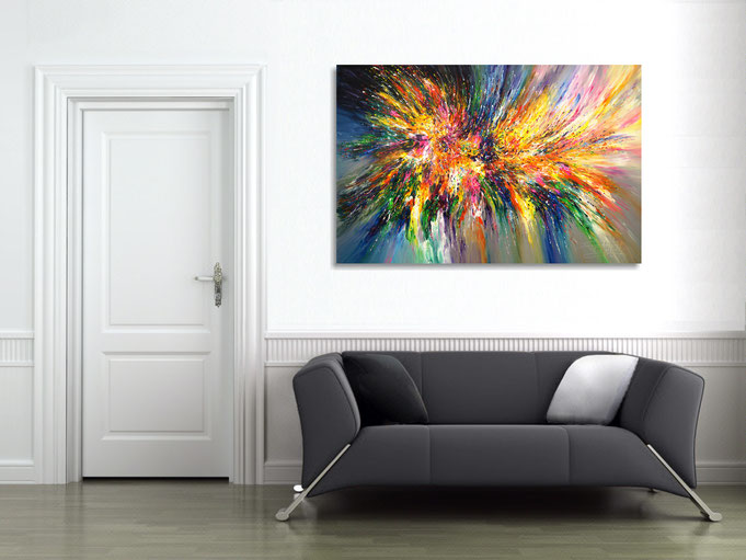 """by the abstract painting """"Into The Light...XL 5"""" obtained the athmosphere of the room a particularly individual character"""