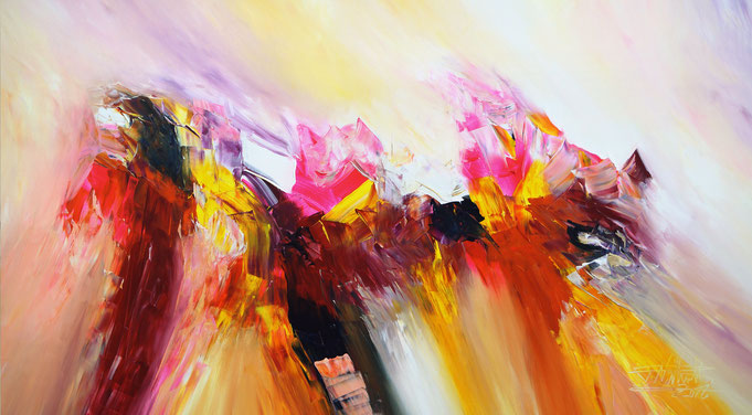 abstract, acrylic on canvas, forceful, bold, for sale, yellow, pink, bright