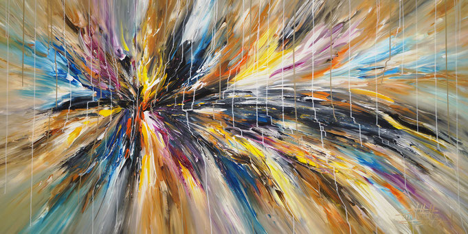 abstract ,acrylic on canvas, large format, energetic painting intense modern, colors, yellow, red