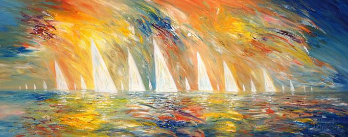 Abstracted sea, water, wind, waves, sailing boats