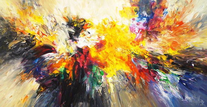 large abstract painting, intensive color shades