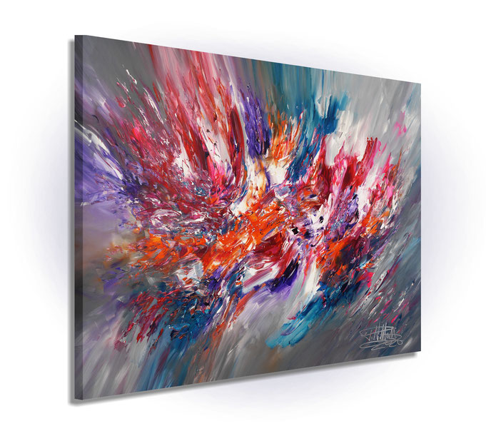 ready to hang, blue abstract large painting