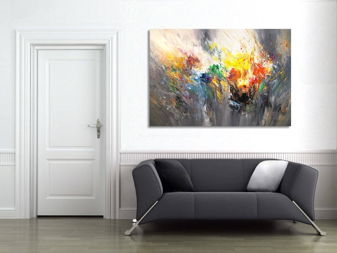 The finished painting hanging on the wall