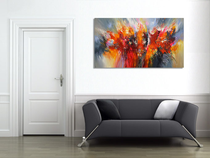 This very expressive painting creates drama on the wall