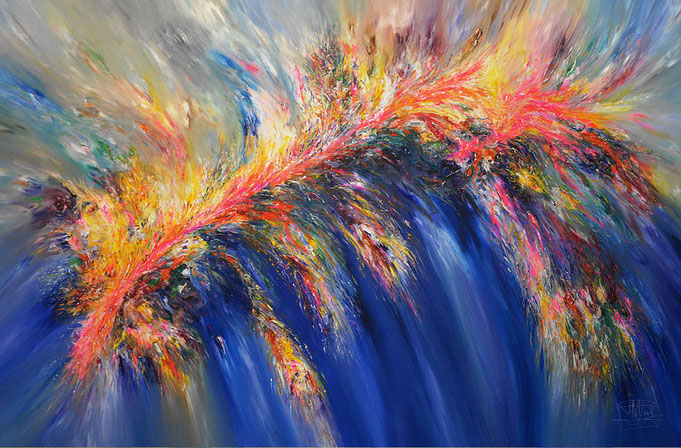 abstract, painting, acrylic, canvas, blue, vibrant, energetic, flowing, modern, pink, yellow, possible