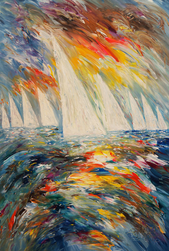Abstracted sea, water, wind, waves, sky, clouds, sailing boats.. special kind of freedom. Modern vibrant artworks. Blue, colorful, martim
