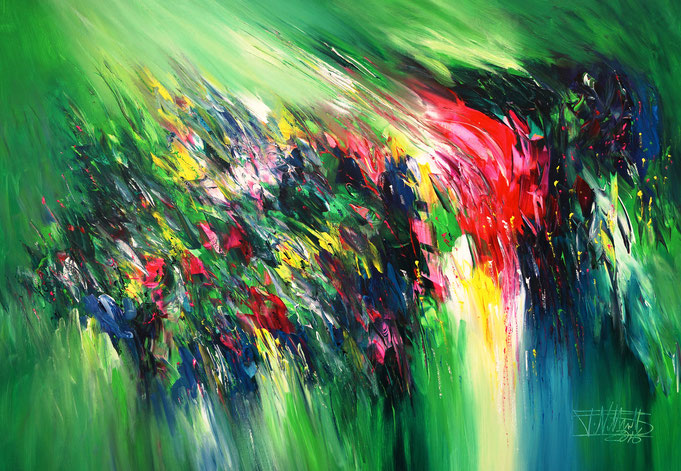 Modern art by Peter Nottrott: green abstract painting