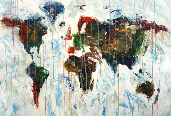 Abstracted worldmap painting, colorful