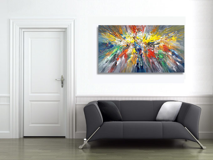 The abstract painting in the finished clamped to the wall .