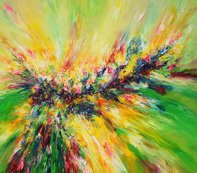 contemporary artwork, green, colorful, large painting, hugh original
