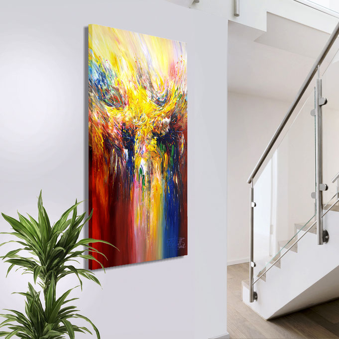 The very expressive painting acts on the wall