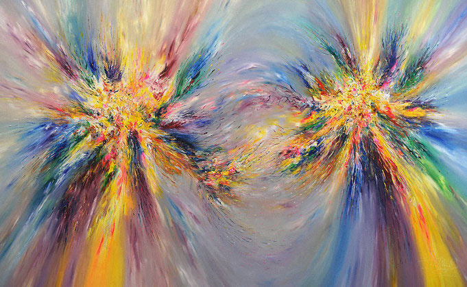 abstract, acrylic on canvas original, glowing, elements, yellow, evoking, emotions, pure joy, devotion