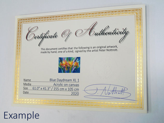 Example of a certificate of authenticity, signed by Peter Nottrott