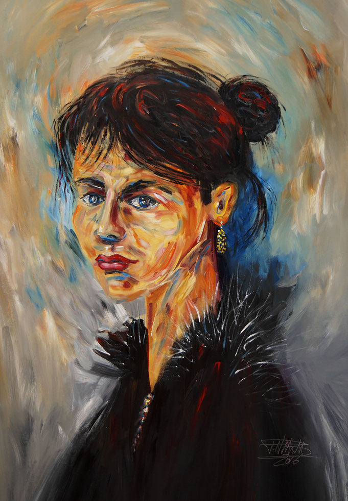 Female portrait  expressionism painting. act, face
