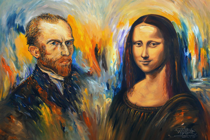 Vincent van Gogh, Mona Lisa, Peter Nottrott, acrylic, impressionist, renaissance