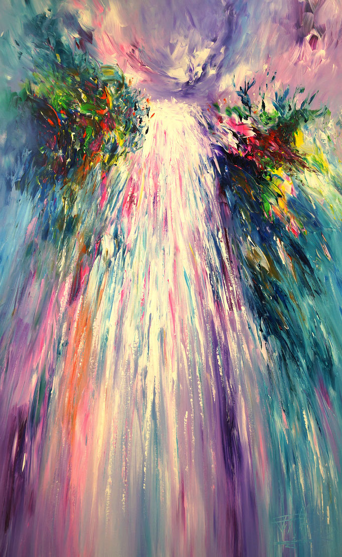 waterfall abstract painting. Blue, colorful