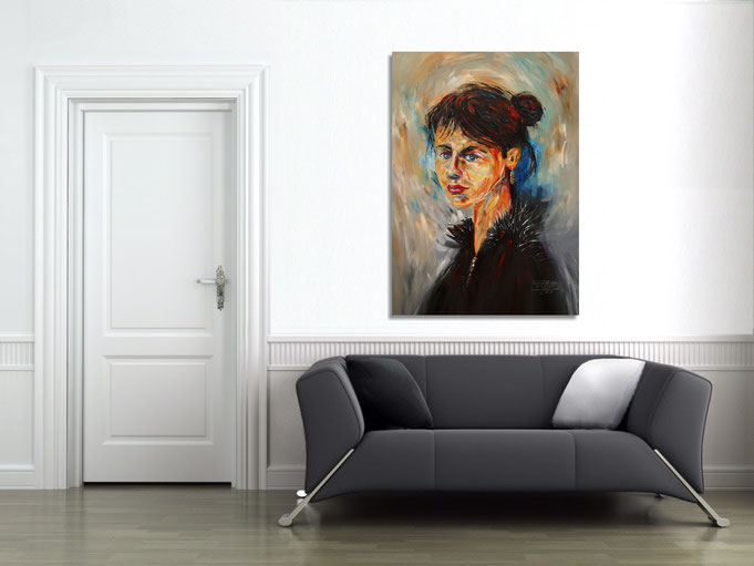 How the painting might look when hung on the wall