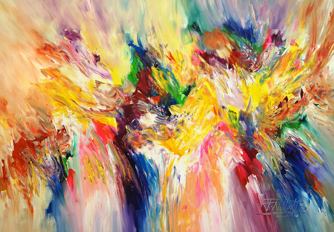 abstact modern art, lively, artwork, colorful, dynamic, energetic, yellow, blue, red, green