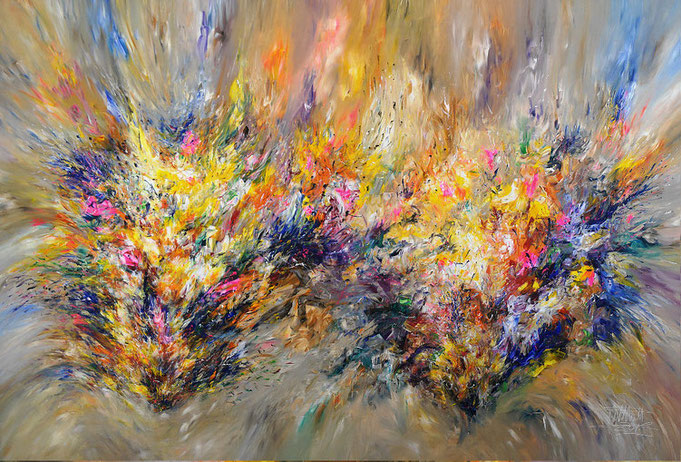 abstract, acrylic on canvas,  colorful, organic painting, full of  energy, yellow, blue, pink