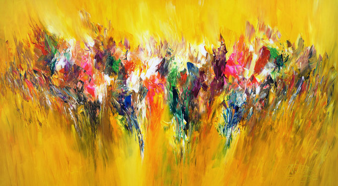yellow, large, contemporary, painting, vivid, colors,  colorful, playful ,imagery and lively composition, yellow.