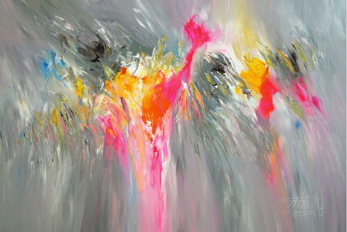 Abstract, modern painting. Original in acrylic colours on canvas. Blue, Yellow, pink, orange, Magenta