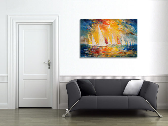 saescape, maritim painting, blue, sea, sky, clouds, wind, water, waves, artwork, nottrott