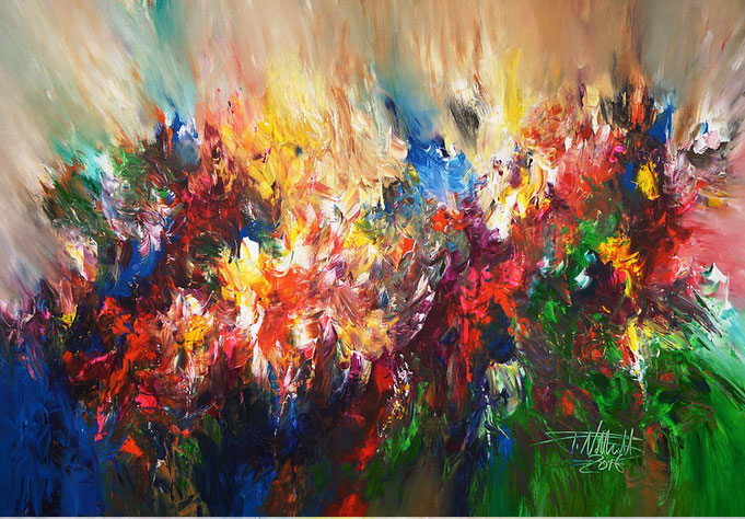 contemporary, colorful, dramatic, yellow, blue, green, red, for sale, original, signed
