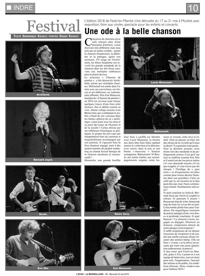 """Extrait d'un article de Dom Kovacs sur le festival de chanson """"Festiv'en Marche"""" paru dans L'ECHO - LA MARSEILLAISE du Mercredi 23 Mai 2018"""