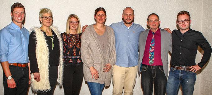 Unser Vorstand im Jahr 2018 v.l. Alexander Klotz, Eva Größler, Michelle Lerch, Tina Kern-Stass, Patrick Görling, Kurt Klotz, Christopher Strauß