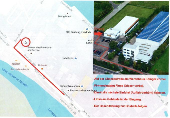 "Anfahrt zum ""Punching"" Boxgym Chemiestraße 21"