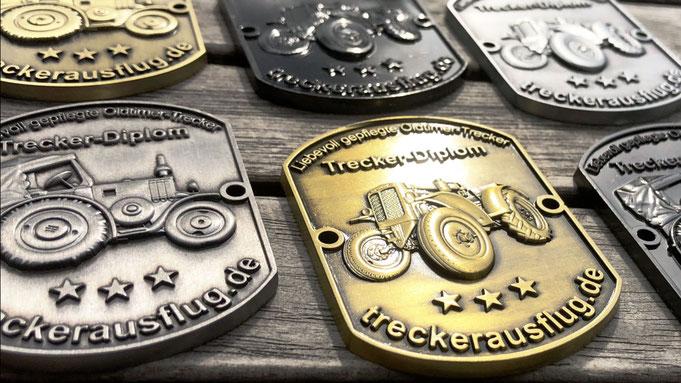 Metallplakette Trecker-Diplom