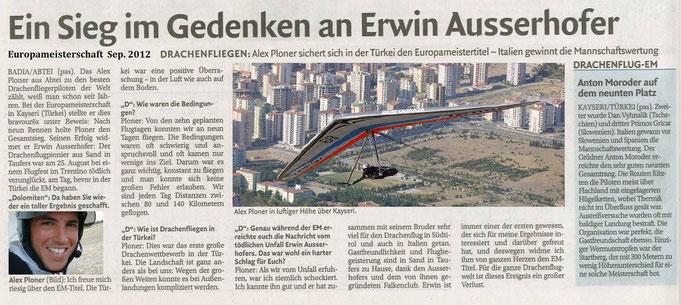 Ein Sieg im Gedanken an Erwin Ausserhofer