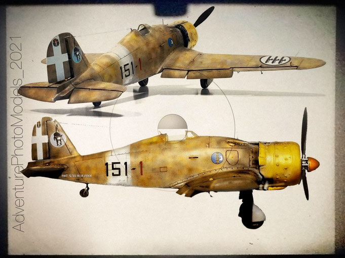 """"""" Regia Aeronautica """"  Fiat G-50 bis """" Freccia """" - Special Hobby kit 1:32 scale model - File :  Axis Gallery ; theme from WWII North Africa (Libya-Martuba Air Base) winter 1941"""