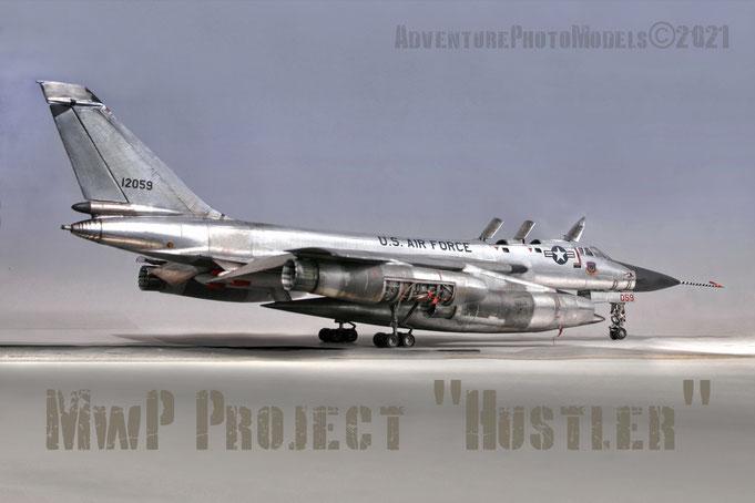 """MWP (Metal Work Panels) Project : """" Hustler"""" - Strategic Air Command Coanvair B-58 """"Hustler""""-  Monogram/Revell (1980 kit reboxed) 1/48 scale model  - High detailed & customized  - Full MWP finished"""