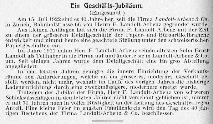 """Im """"Der Papeterist"""" von 1922 finden wir einen schöne Zusammenfassung zum 40 jährigen Geschäfts-Jubiläum"""