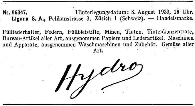 Handelsregisteranzeige von 1939