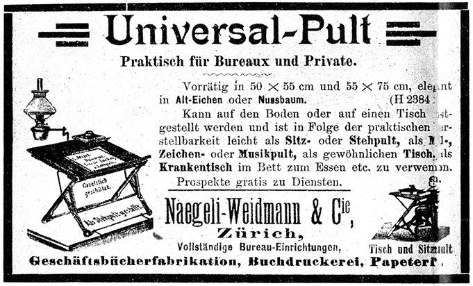 1897 Inserat Naegeli-Weidmann Universal-Pult