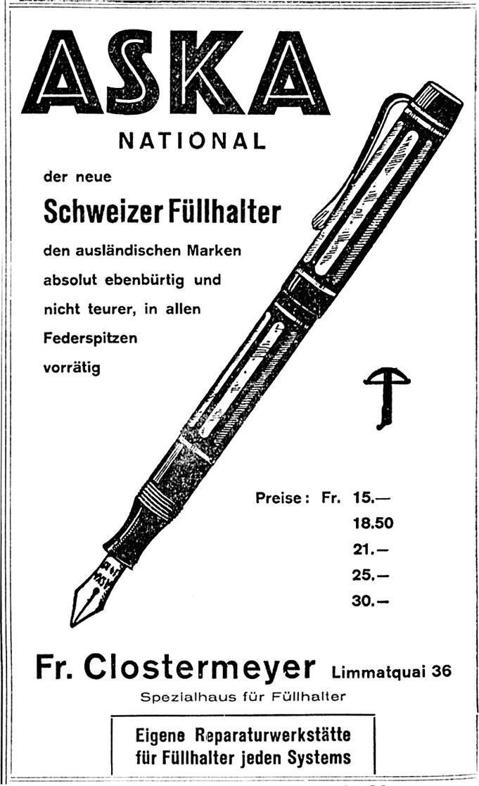 1934 Inserat der Papeterie Clostermeyer Zürich