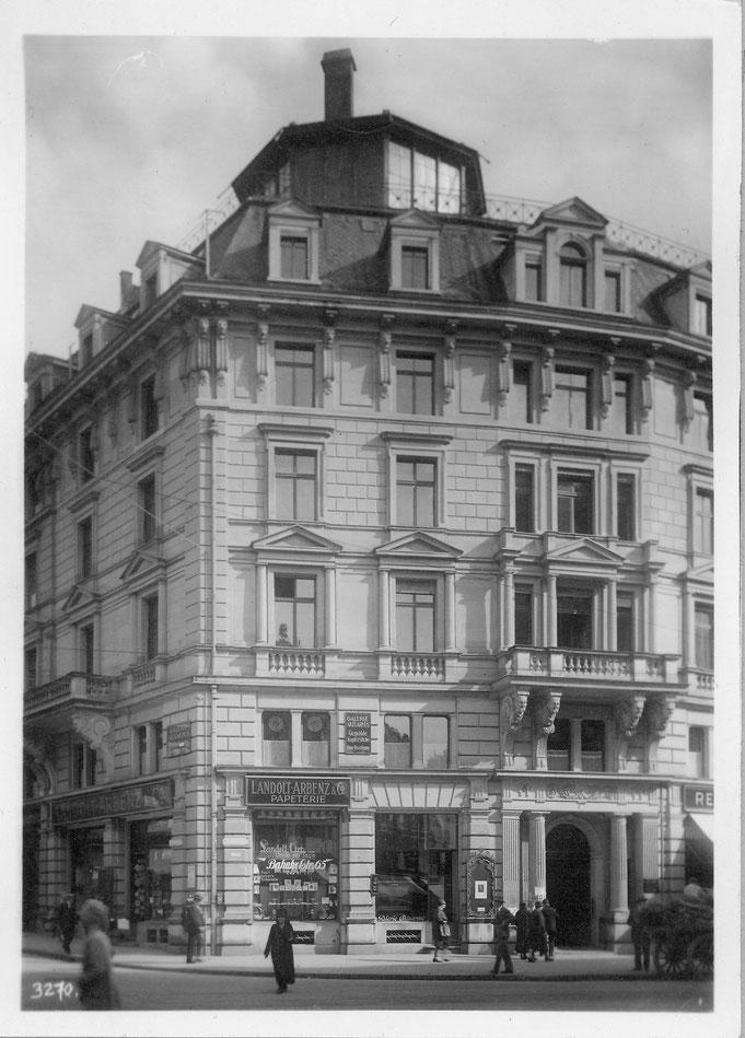 1927 Die noble Lage an der Bahnhofstrasse ...