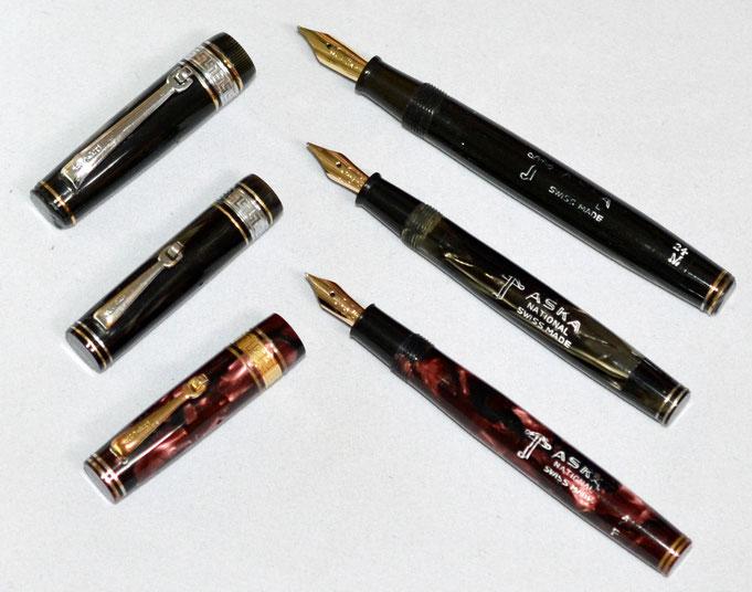 Drei ASKA National Modelle mit der Armbrust, allesamt Druckknopffüller