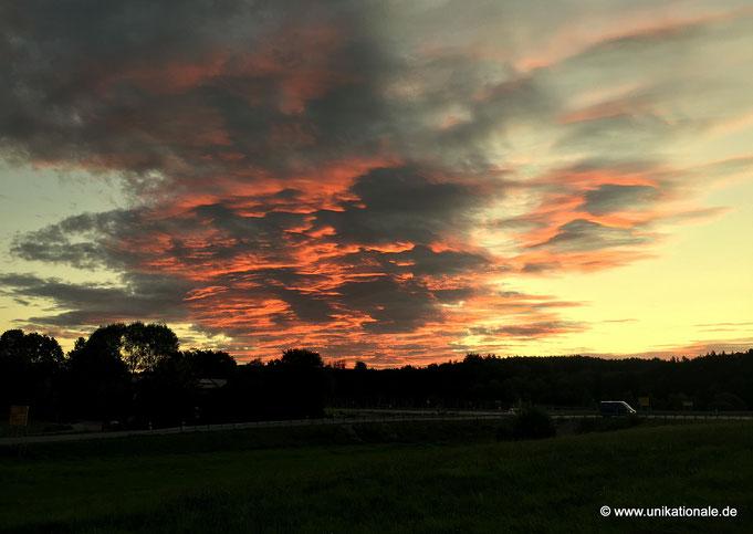 Wolken, vom Sonnenaufgang beleuchtet (1)
