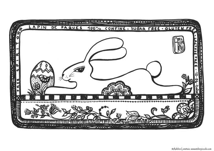 lapin de Pâques à colorier - Atelier Piccolo -adeline Lemetais