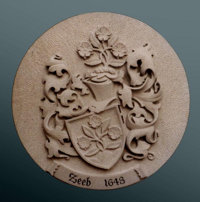 Wappen in Stein, Sandstein gehauen, gemeißelt