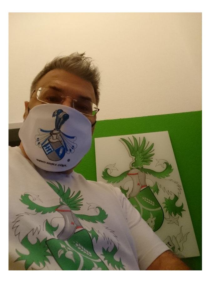 Maske, Nasen- und Mundschutz, T-Shirt, Glasbild, Leinwand mit Ihrem Familienwappen