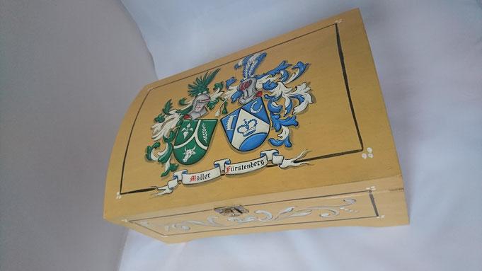 Wappen Schatulle, Kiste, Kästchen, Kasten bemalt