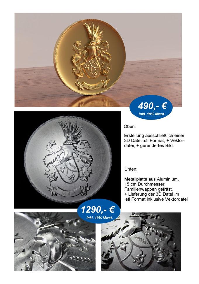 3D Wappen, Datei + 3D Metallplatte, Medaille