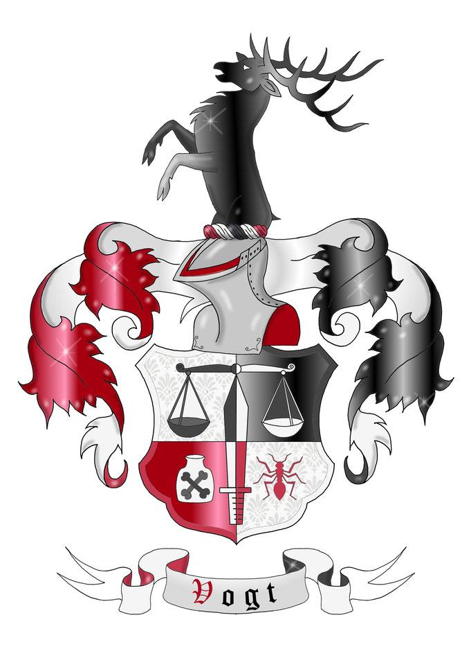 Familienwappen, Wappen plastisch, mit Damaszierung, modern